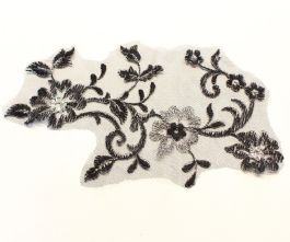 Large Black and Silver Embroidered Tulle Lace Motif